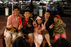 Photo by the harbour together with family